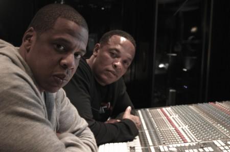 """dr dre and jay z in the studio 450x299 Dr. Dre si Jay Z lucreaza la primul single al albumului """"Detox""""."""