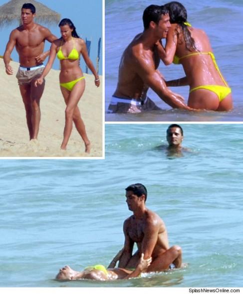 Cristiano Ronaldo iubita plaja 487x590 Cristiano Ronaldo şi iubita lui s au încins la plajă
