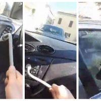 Imagini Roman din Italia isi distruge masina confiscata, crezand ca nu o mai poate recupera niciodata VIDEO