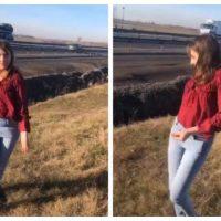 Imagini Veronica Vulpița, s-a rupt pe o manea, pe câmp, lângă autostradă! VIDEO